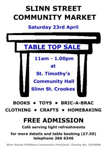 Table Top Sale Poster - Apr 2016